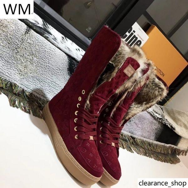 Duping520 En Çok Satan Klasik Hünnap Kırmızı Kabartmalı Kürk Boots Binme Yağmur Boot Boots Patik Sneakers Elbise Ayakkabı