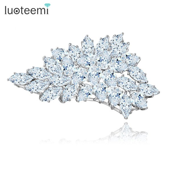 Fashion Jewelry Crystal Brooches White-Gold Color Clear CZ Stone Charm Big Brooches for Women Bridal Wedding Gifts New Arrival LUOTEEMI