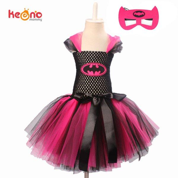 Keenomommy Super Cute Super Hero Tutu Costume Hot Pink Batgirl Girls Tutu Dress With Mask For Cosplay Party Halloween Q190522