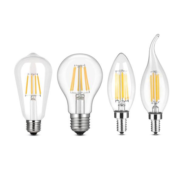 Bombilla LED de Filamento E27 Retro Edison Lámpara 110-220V E14 Vintage Vela Bombilla Lámpara Incandescente Bombilla de Filamento