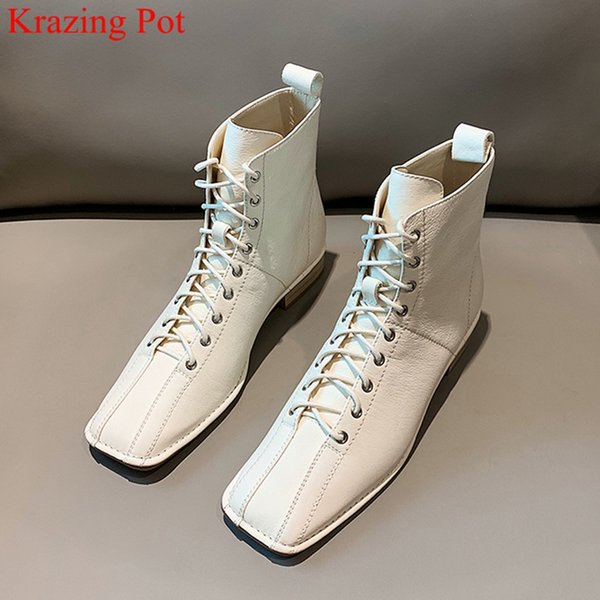 handmade cow leather sewing square toe med heel ankle boots elegant lace up party runway concise solid women winter shoes l02 - from $67.87
