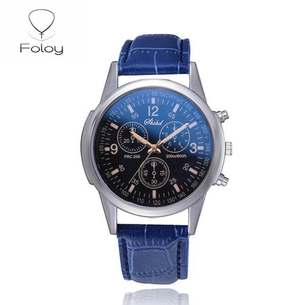 Foloy le sport Hommes d'affaires montre la qualité de la mode Numerals faux cuir homme analogique à quartz Bracelet Horloge cadeau