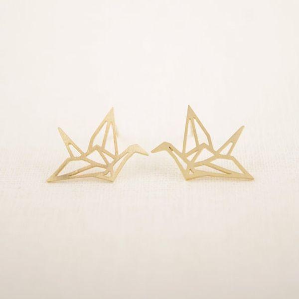 Jisensp Nouveau mode gros bijoux sauvages Origami Boucles d'oreilles grue pour femmes Vintage Oiseau mignon animaux Boucles d'oreilles Pendientes