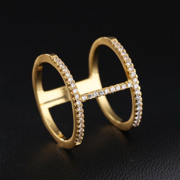 Doppelschicht Band Ringe Iced Out Diamant 18 Karat Gold Luxus Großzügige Elegante Designer Schmuck Für Frauen Party Engagement Feinen Ring Zubehör