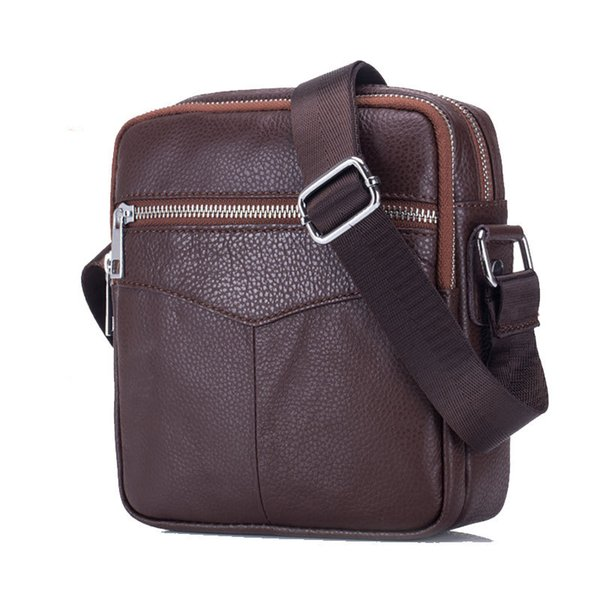 good quality Vintage Cowhide Genuine Leather Messenger Bag Men Sling Chest Small Bag For Male Casual Top-handle Shoulder Bags 2019 New