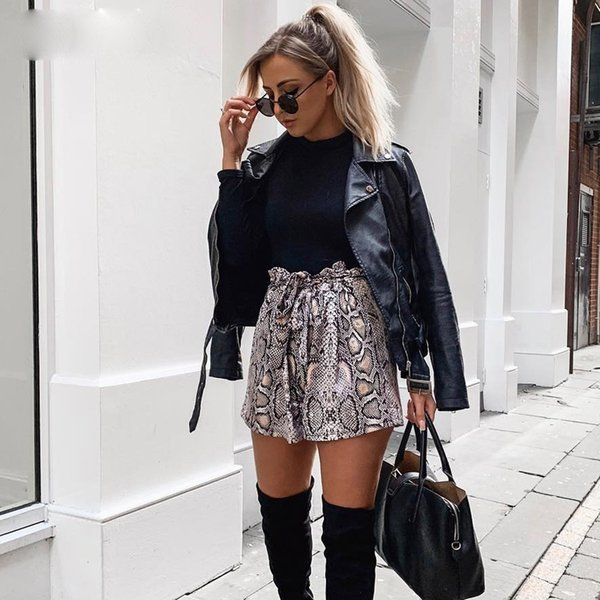 Snake Print High Waist Shorts Women Autumn Paper Bag Sexy Elegant Fashion Lace Up Ruffle Mini Ladies Shorts Skirts
