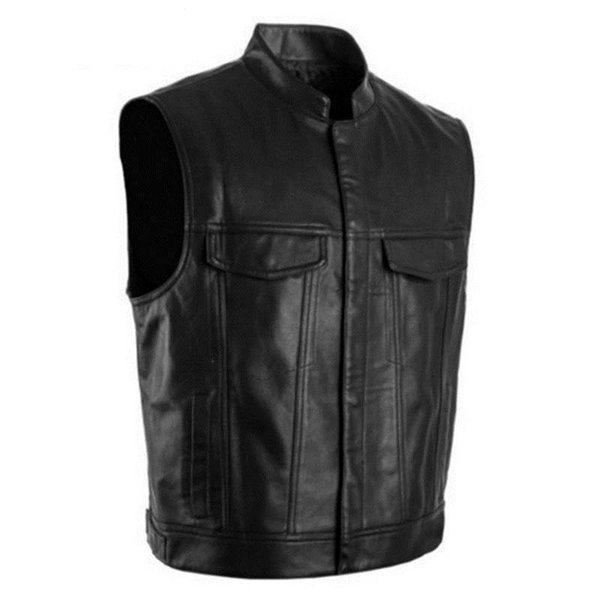 2019 Men PU Leather Vest Black Moto & Biker Hip Hop Punk bomber Waistcoat Male Spring Standing collar Sleeveless Jacket 5XL