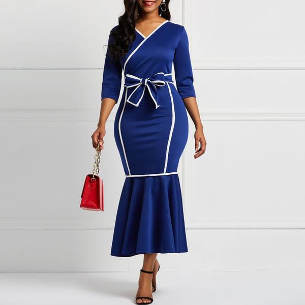 Vestido de las mujeres de manga larga sirena Falbala V-cuello del bloque del color de las mujeres Midi vestidos Bowknot elegante partido de la cena de la mujer vestido Y19050905