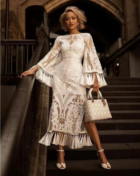 European station 2019 spring and summer heavy work embroidered fringed dress skirt trumpet sleeves hem split white lace dress