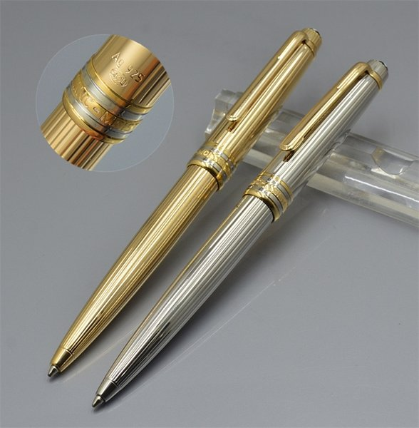 Top Hohe qualität Msk-163 Goldene Silber Ag925 Metall streifen Kugelschreiber Gelschreiber schule bürobedarf mit Deutschland MB Seriennummer