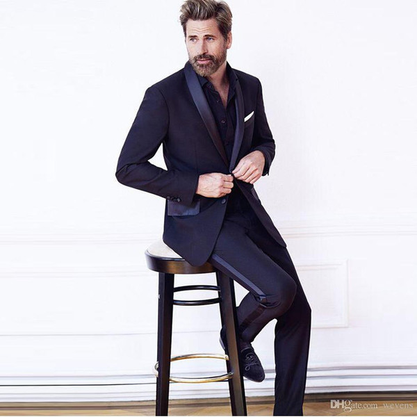Dark Navy Two Pieces Slim Fit Mens Formal Tuxedos Shawl Lapel 2 Buttons Suits Sets Custom Made Prom Dress for Man