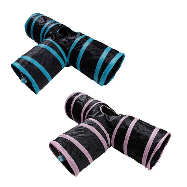 New Pet Tunnel 3 Way Cat Puppy Toys Collapsible Folding Outdoor Portable Small Pets Kitten Funny Play Interactive Hamster Squirr