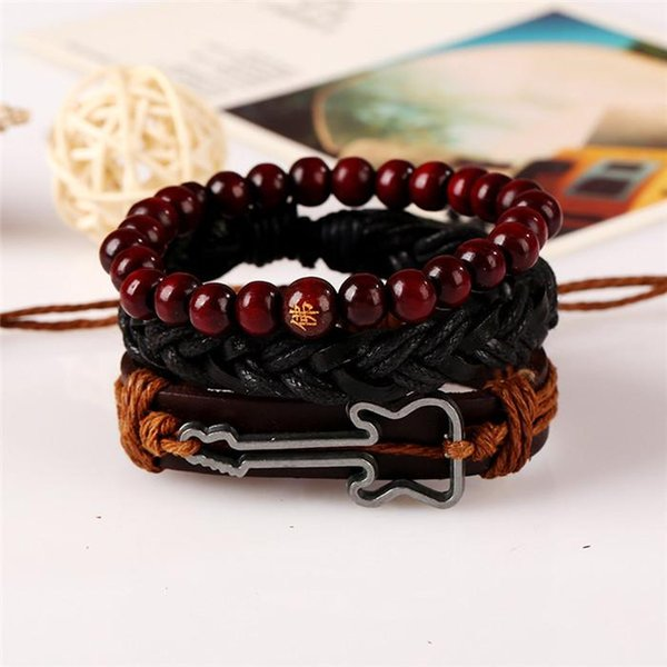 18 styles Vintage Leather Men Bracelet stainless steel Angel wing Wrap Bracelet Handmade wood Punk Bracelets Bangles Fashion Jewelry pksp3-4