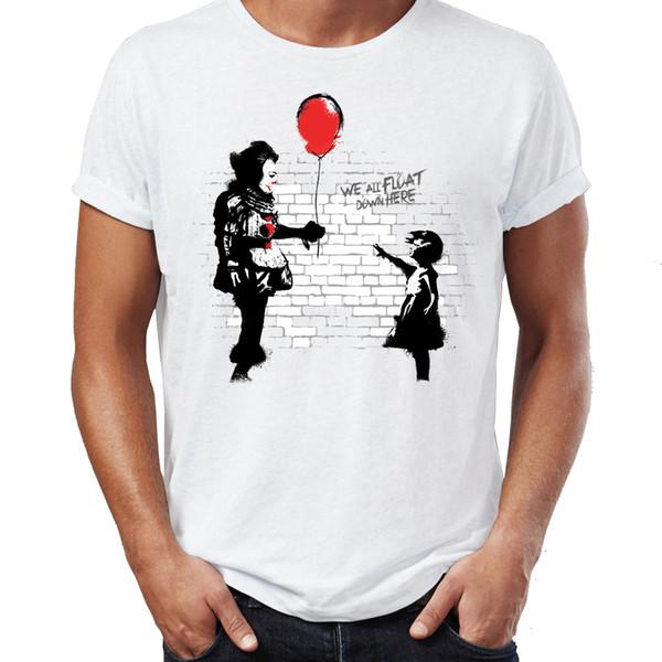 Das T-Shirt der Männer Banksy Ballon-Mädchen es Clown-Horror-Darth Vader Artsy fantastische Grafik druckte T-Stück