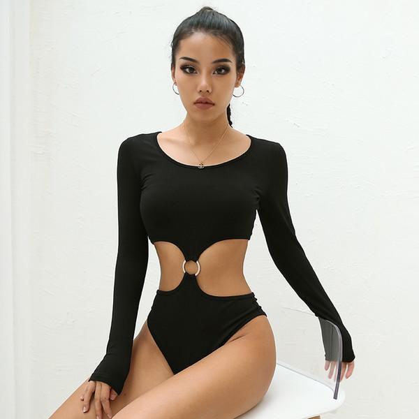 2019 Autunno Inverno Nuova Vita Hollow Tute Body Sexy a maniche lunghe Bottoming Slim Holiday Tuta