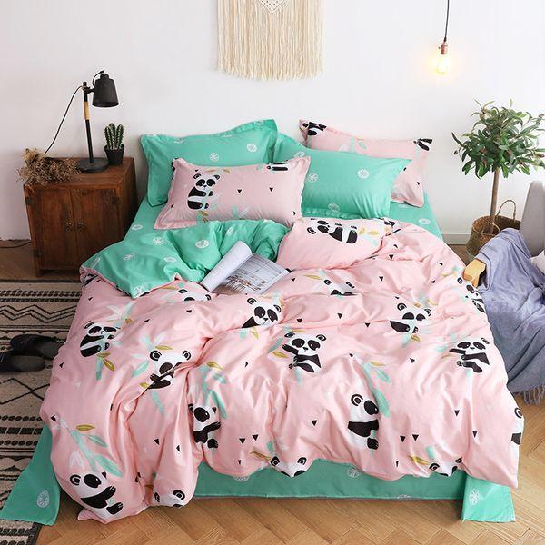 padrão Panda tampa do projeto edredão com folhas de rosto fronha colcha da cama king size set 4 peças miúdos cama tamanho único