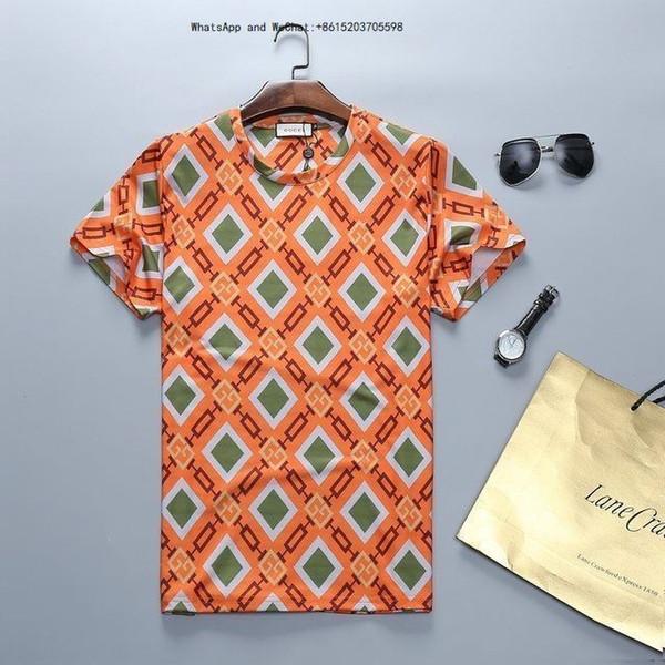 Verão Novo Padrão Moda Tendência Maré Bordado Masculino Fácil Algodão Puro Metade Curto T-shirt t camisas para homens tshirts marcas 0308
