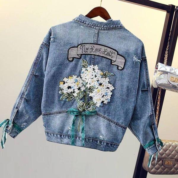 Çiçek Nakış Gevşek Kadınlar Denim Ceket Sonbahar Casual erkek arkadaş tarzı chaqueta Mujer Streetwear moda kadın jean 2019 T190919 başında