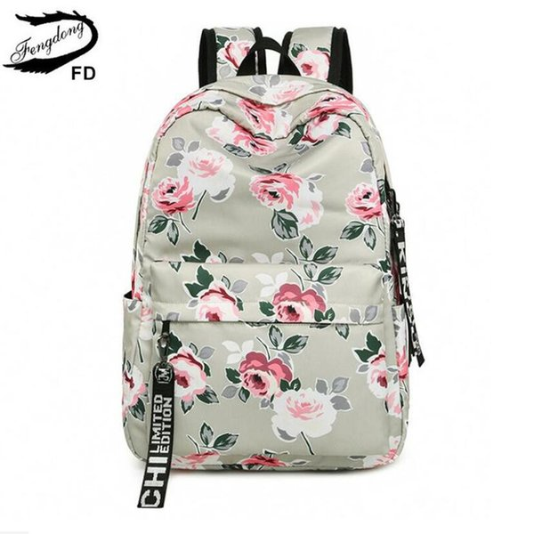 Fengdong Chinese Style Floral School Backpack Flowers Backpacks For Teenage Girls School Bags Laptop Computer Bag Schoolbag Gift Y19062401