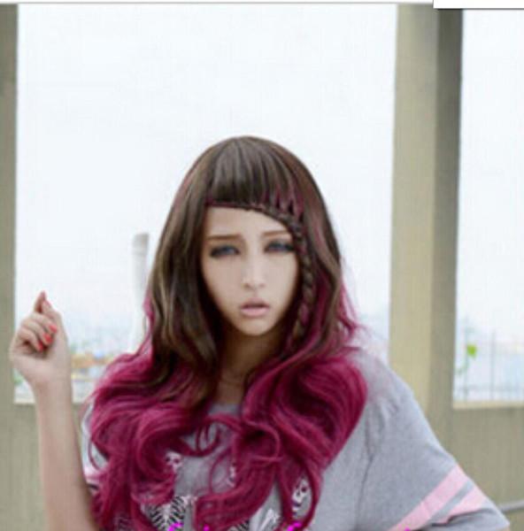 Spedizione WIG Nuovo Cosplay Harajuku Twist treccia lunga Brown Rose misto parrucche ricce