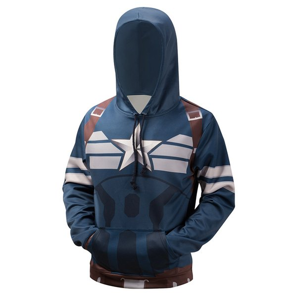 Men/Women Hoodies With Hat Hoody Print Captain America Autumn Winter Thick 3d Sweatshirts Hooded Hood Tops Large-size