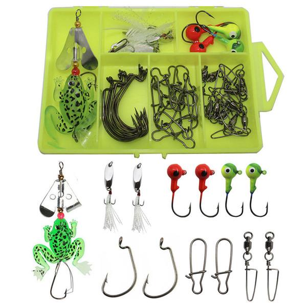 37pcs/Lot Fishing Lure Kit Tackle Box Soft Frog Swivel Hooks Metal Spoon Spinner Baits Jig Hooks