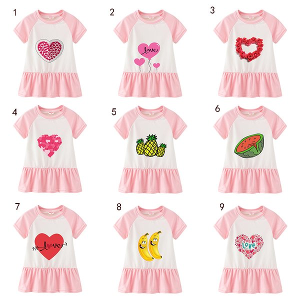 Children Girls pure cotton dress fashion short sleeves cartoon fruit love skirt kids girl designer dress B11