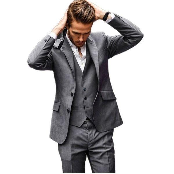 Three Piece Dark Grey Evening Party Men Suits Notch Lapel Trim Fit Custom Made Wedding Tuxedos (Jacket + Pants + Vest+Tie)W:402