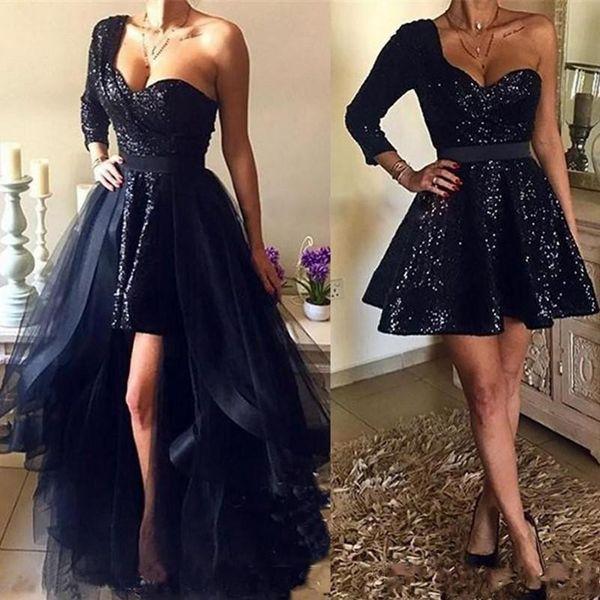 Vestidos de fiesta de lentejuelas negras con encanto de 2020 con lentejuelas desmontables Vestidos de noche cortos de manga larga con un hombro sexy Falda de tul
