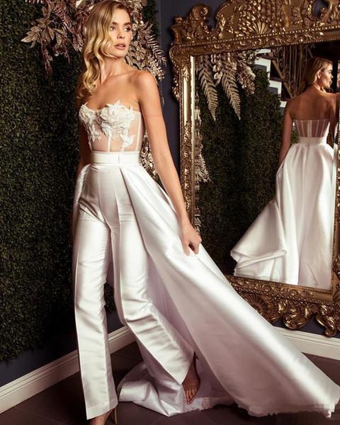 Zuhair Murad Overskirt Jumpsuit Prom Dresses 2019 Lace Stain Strapless Sweep Train vestidos de fiesta Arabic Occasion Evening Jumpsuit