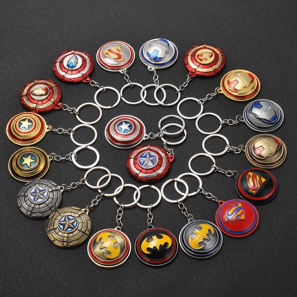 Marvel Filmleri Avengers Anahtarlık Alaşım Altın Renk Dönebilen Kaptan Amerika Kalkanı Anahtar Yüzükler Demir Adam Kolye Takı Aksesuarl ...
