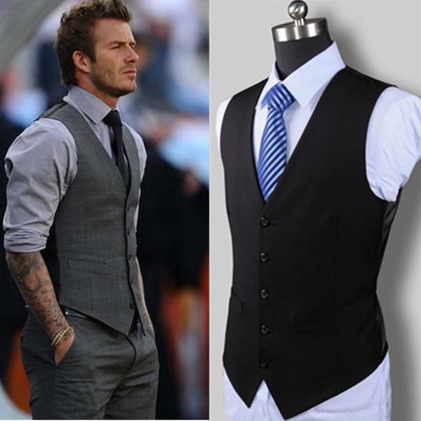 Novo vestido de casamento de alta qualidade bens de algodão dos homens de design de moda terno colete / cinza preto high-end dos homens de negócios terno ocasional colete