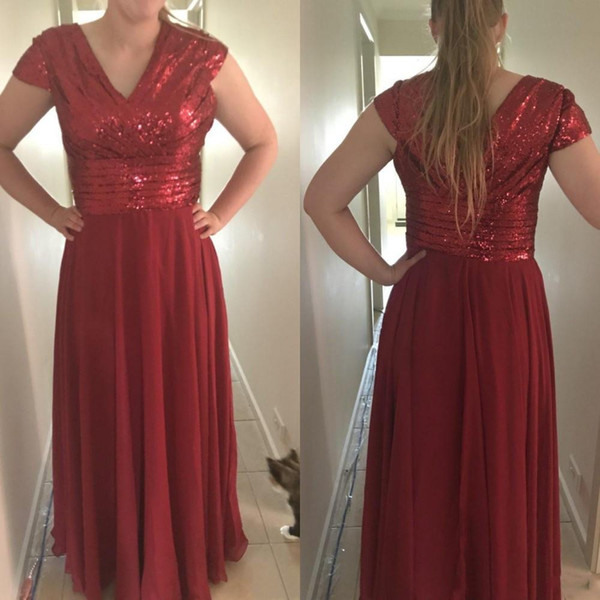 2018 New Rose Gold Dark Red Bridesmaid Dresses Burgundy Sequins Chiffon V Neck Long Sequined Wedding Gust Dress Formal Maid of Honor Gowns