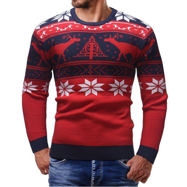LASPERAL New Autumn Winter 2018 Deer Christmas Tree Sweater Men's Wear Round Neck Sweater Men Wear Casual Jumper Slimming
