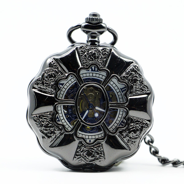 Vintage Luxury Black Metal Mechanical Pocket Watch Steampunk Watches Pin Chain Men Women Pendant Clock Gift With Gift PJX1219