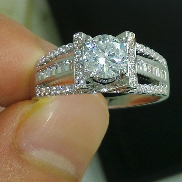 Key4fashion Free 2019 NEW 100% Brand free shipping Fine Jewelry 925 sterling silver white topaz Gem Women wedding lovers Ring size5/6/7/8/9