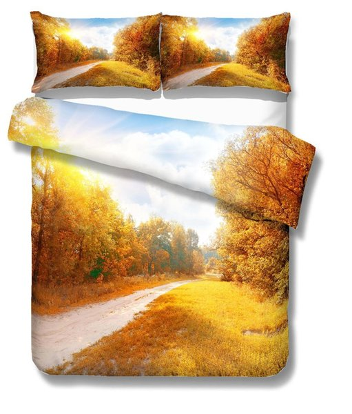 3D принт Комплект постельного белья Осенний пейзаж, осенние листья, подарки / подарки от друзей Комплект пододеяльника Домашний текстиль