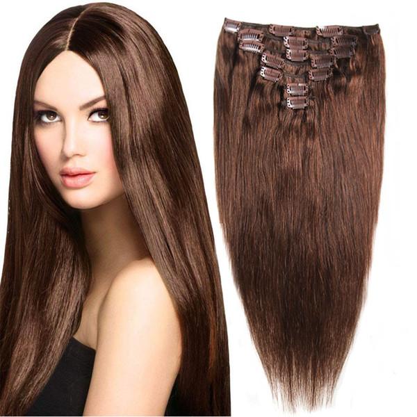 Clip nelle estensioni dei capelli umani Diritto Set completo di testa 7pcs 70g Macchina fatta di Clip di capelli di Remy 100% estensioni dei capelli umani
