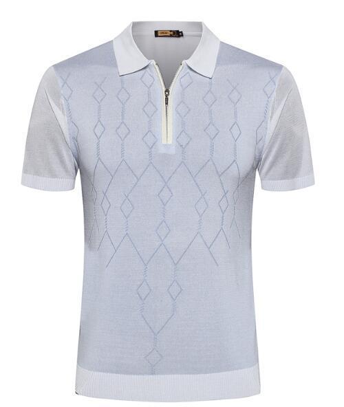 ZI*LLI short-sleeved T-shirt snake snake skin 2019 summer new silk business fashion printing zipper casual leather tide