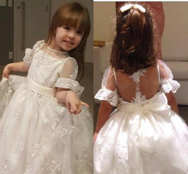 2020 Blumenmädchenkleider A-Linie Juwel SpitzeApplique Fußboden-Längen-Mädchen-Festzug-Kleider für Hochzeit