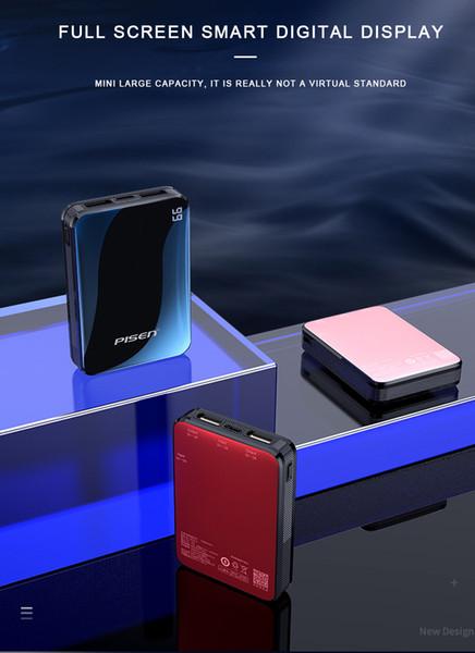 PISEN 10000mAh Power Bank портативное зарядное устройство мобильного телефона Цифровой дисплей Внешний аккумулятор Двойной USB Быстрая зарядка POWERBANK