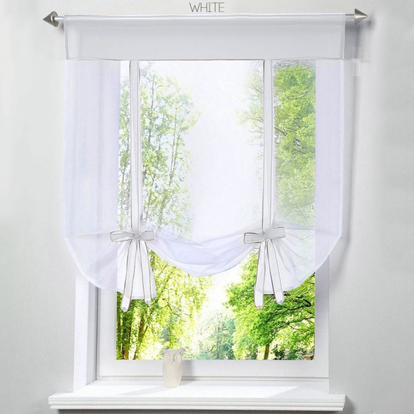 Flying Window Tulle Kitchen Balcony Curtains Green White Perspective Yarn Rope Curtains For living Room Drapes