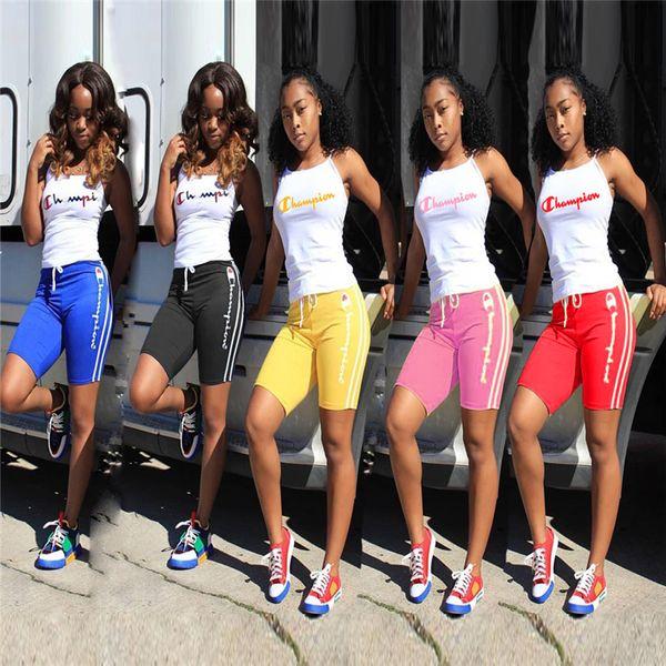 Carta Impresso Campeões Mulheres Treino Roupas de Verão Regatas + Shorts 2 Peças Esportes Terno S-3XL Sportswear Basculadores Leggings Quente A32607