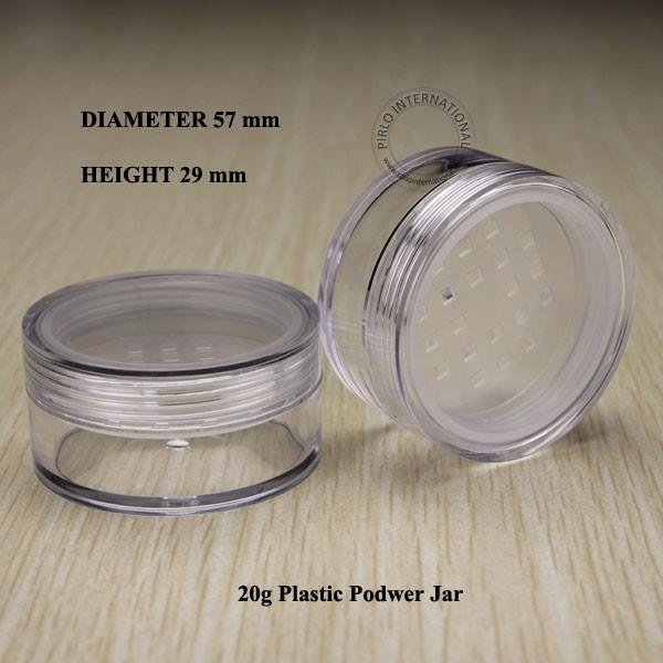 20pcs/lot 20g Clear Empty Cosmetic Packaging Loose Powder Container Plastic Jar Jars Container Pot With Lids For Makeup Nail Art