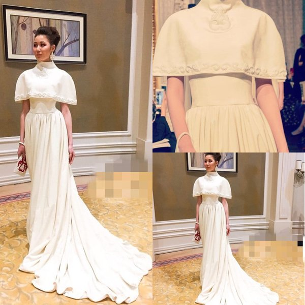 Elegant Ivory Embroidery Evening Formal Dresses Long New 2019 Court Train High Neck Short Sleeves Middle East Dubai Arabic Prom Party Gowns