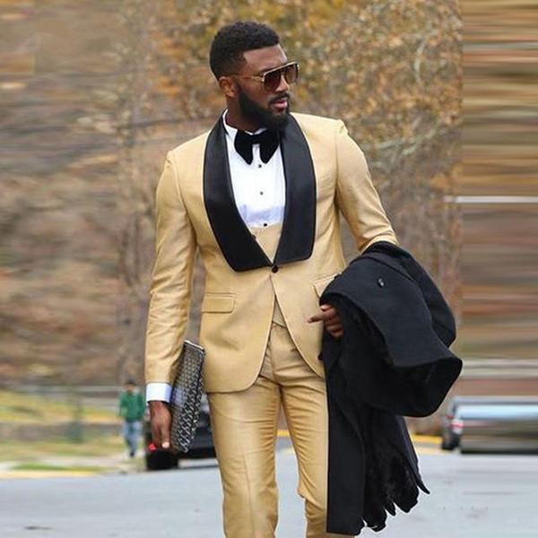 Custom Made elegante Casamento Do Ouro Smoking Homem bonito Negócio Formal Evening Slim Fit Ternos Melhor Noivo plus size Blazer Set 3 Peça