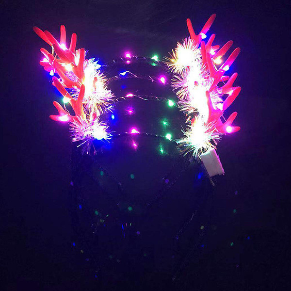 Hair Hoop New Style Luminescence Popular Antlers Headband Girl Creative Idea Christmas Stockings Decorations Factory Direct Selling 3xl p1