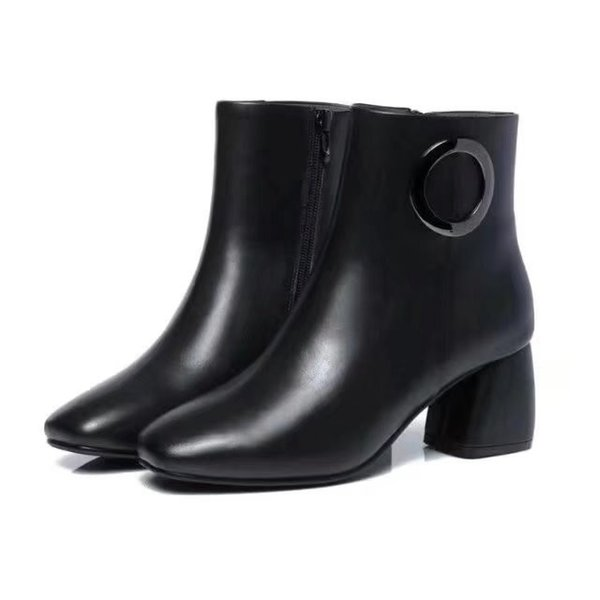 Ting2594 9820 Square Head Thick With Short Boots With Round Buckle Riding Rain Boot Boots Booties Sneakers Dress Shoes
