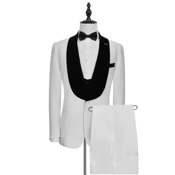 New Ivory Slim Fit Men Suits Wedding Groom Tuxedos Bridegroom Suits 3 Pieces (Jacket+Pants+Vest) with Black Shawl Lapel Best Man Blazer 317