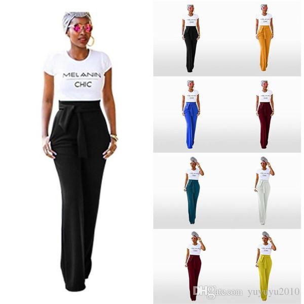 2019 High Waist Belted Zipper Palazzo Pants Ginger Frill Waist Ruffle Wide Leg Pants Women Elegant OL Style Trousers ODFS D8021